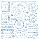 Комплект оформления doodle зимы Рамка, лента, граница Рука Стоковое Изображение