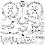 Комплект оформления Doodles флористический Границы, элементы, венок Стоковое Фото