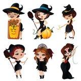 Комплект 6 очаровательных ведьм бесплатная иллюстрация