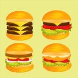 Комплект очень вкусного изображения бургера Стоковая Фотография