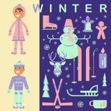 Комплект одежд детей зимы Стоковые Изображения