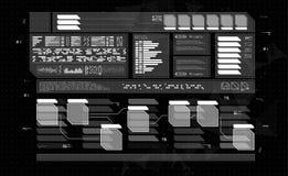 Комплект панелей HUD infographic Знамена головного дисплея для сети и app Футуристический пользовательский интерфейс Виртуальный  Стоковое Изображение RF