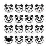 Комплект панды животных смайлика Стоковые Изображения