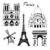 Комплект Парижа sightseeing Эйфелева башня, Триумфальная Арка, базилика Sacre Coeur, румян Moulin, Нотр-Дам Франция вектор Стоковые Фотографии RF