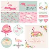 Комплект партии фламинго иллюстрация вектора