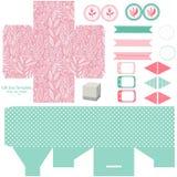 Комплект партии шаблона подарочной коробки Стоковые Изображения RF
