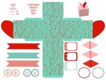 Комплект партии шаблона подарочной коробки Стоковые Фотографии RF