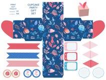 Комплект партии шаблона подарочной коробки Стоковые Изображения