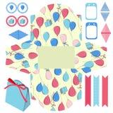 Комплект партии шаблона подарочной коробки Стоковое Изображение
