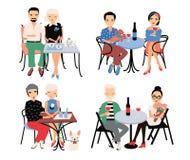 Комплект пар на романтичной дате Молодые ультрамодные любовники на таблице в кафе Гай и девушка сидят в объятии, держат руки, пит иллюстрация вектора