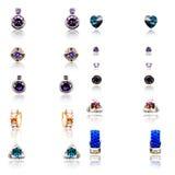 Комплект 11 пар серег диаманта Стоковые Фотографии RF