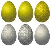 Комплект пасхальных яя 2 золота и серебра Стоковое Фото