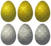 Комплект пасхальных яя золота и серебра Стоковое Изображение RF