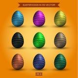 Комплект пасхальных яя, покрашенный дизайн высококачественных иллюстраций современный Стоковое фото RF