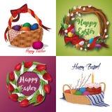 Комплект пасхи флористические венки, тюльпаны, корзина вербы с тортами пасхи и покрашенные яичка Стоковое Изображение