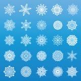 Комплект 25 первоначально снежинок иллюстрация вектора