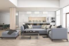 комплект перевода 3d софы в живущей комнате около бара и барного стула кухни Стоковое Фото