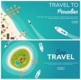 Комплект перемещения знамен красочного к раю пляж тропический Самый лучший круиз Знамя вектора плоское для вашего дела бесплатная иллюстрация