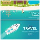 Комплект перемещения знамен красочного к раю пляж тропический Самый лучший круиз Знамя вектора плоское для вашего дела иллюстрация штока