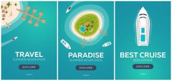 Комплект перемещения знамен красочного к раю пляж тропический Самый лучший круиз Знамя вектора плоское для вашего дела иллюстрация вектора