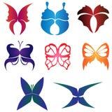 Комплект пестротканых бабочек иллюстрация вектора