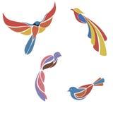 Комплект пестротканых птиц плоских иллюстрация вектора