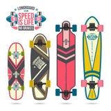 Комплект печатей на longboard Стоковые Изображения