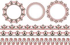 Комплект печати этнического круглого орнамента Стоковое Изображение