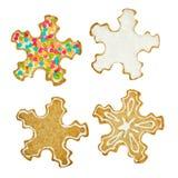 Комплект печенья снежинок рождества Стоковое Фото