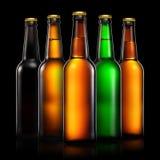 Комплект пивных бутылок изолированных на черной предпосылке Стоковые Изображения RF