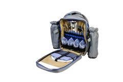 Комплект пикника в рюкзаке изолированном на белой предпосылке Стоковое фото RF