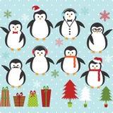 Комплект пингвина рождества Стоковое Фото