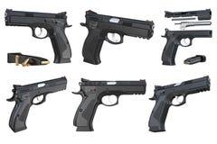 Комплект пистолета черноты оружия оружия современный Стоковые Фотографии RF