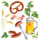 Комплект питья еды Oktoberfest иллюстрация вектора