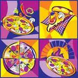 Комплект пиццы яркий бесплатная иллюстрация