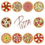 Комплект пиццы иллюстрация штока