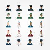 Комплект пилота женщины стюардессы полицейския воинского пилотного внутри иллюстрация вектора