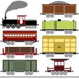 Комплект поезда локомотива пара Стоковые Изображения