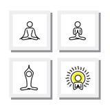 Комплект позиций йоги и раздумья - vector значки Стоковые Фотографии RF