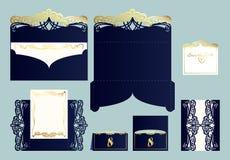 Комплект поздравительной открытки приглашения или свадьбы с орнаментом золота Стоковые Изображения