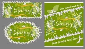 Комплект поздравительных открыток весны и лета Стоковое фото RF