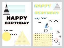 Комплект поздравительных открыток в нео стиле Мемфиса бесплатная иллюстрация