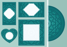 Комплект поздравительных открыток или приглашений с геометрическим романтичным орнаментом для wedding, день матери, день ` s вале иллюстрация штока
