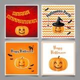 Комплект поздравительных открыток на хеллоуин Стоковая Фотография RF