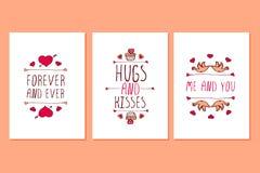 Комплект поздравительных открыток дня валентинок Святого нарисованных рукой Стоковое Фото
