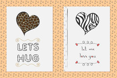 Комплект поздравительных открыток дня валентинок Святого нарисованных рукой с сердцем Стоковая Фотография
