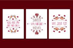 Комплект поздравительных открыток дня валентинок Святого нарисованных рукой Стоковые Изображения RF