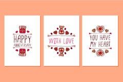 Комплект поздравительных открыток дня валентинок Святого нарисованных рукой Стоковое фото RF