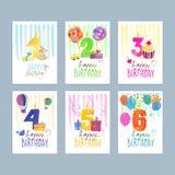 Комплект поздравительных открыток дня рождения иллюстрация штока