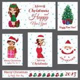 Комплект поздравительных открыток рождества бесплатная иллюстрация
